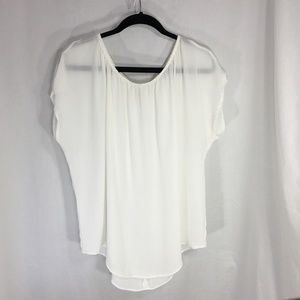 CAbi Ivory White Airy Blouse Back Tie Elastic Arm